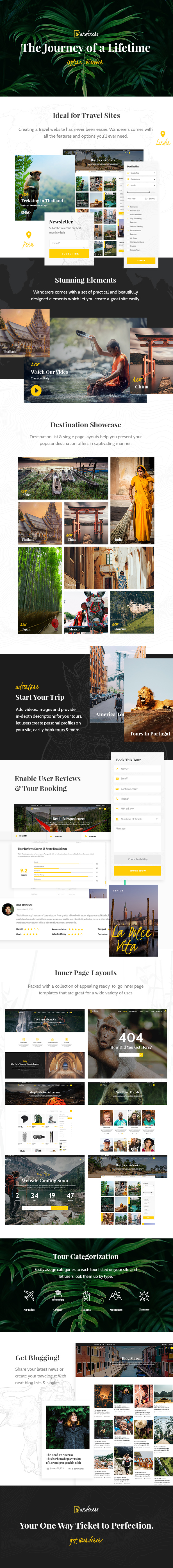 WordPress theme Wanderers - An Adventurous Theme for Travel and Tourism (Travel)